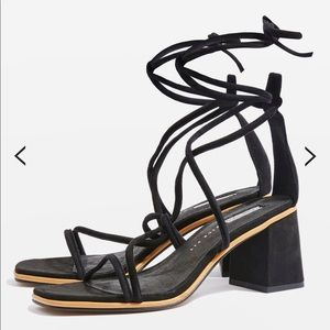 Topshop Black WIDE FIT tubular strappy sandals.
